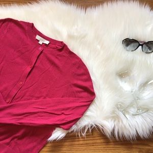LOFT Crewneck Long Sleeve Cardigan in Hot Pink